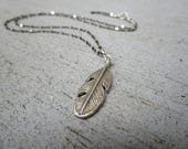 Sterling Silver Feather Choker Necklace