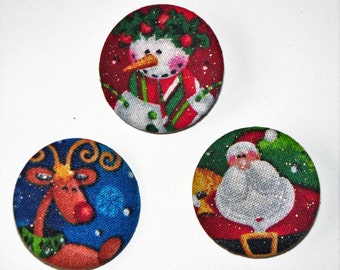 Set of 3 Button Pony O's, Christmas Set of Snowman, Reindeer and Santa,Elastic Ponytail Holder, Elastic Headband,Fabric Covered Hair Tie