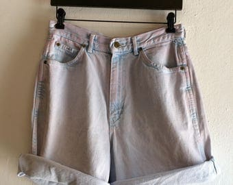 Pink Dyed High Waisted Jean Shorts
