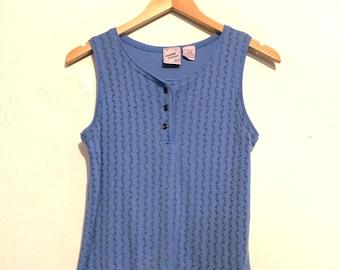 Stitch Print Henley Knit Tank