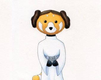 Walter the Red Panda as Princess Leia Tribute to Star Wars 8 x 10 inch Print by SBMathieu