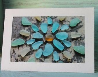 "Genuine Seaglass Greeting Card - Sea Glass Blank Card 5x7"" with 4x6"" Photo - Matted Photo to Frame Sea Glass Mandala"