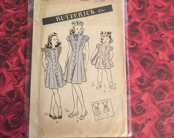 30's Vintage Girls Butterick Sewing Pattern