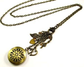 BOHO Aromatherapy Diffuser Necklace, Beautiful Filigree Locket with Charms & Crystals, Use with Essential Oils, Diffuser Locket
