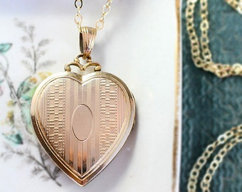 Gold Heart Locket Necklace, 12K Gold Filled Large Vintage Hayward Photo Pendant with Fancy Top - Elegant Medallion