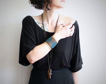 women's leather bracelet // cross stitch cuff bracelet // wide leather cuff // southwestern bracelet // boho cuff // festival cuff bracelet