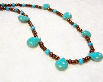Brown Necklace, Turquoise Necklace, Turquoise Teardrop Bronze Necklace, Bronze Seedbead Necklace, Bronze Necklace, Free US Shipping