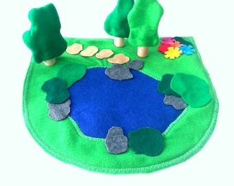 King's Land Cozy Pond -Felt Play Mat With Pond And Trees -add on