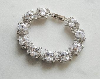 Swarovski Crystal Bracelet, Silver Crystal Wedding Bracelet, Cubic Zirconia Bracelet - RYLIN