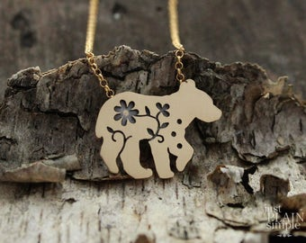 Floral Bear Pendant, solid yellow gold 18k, bear cub, bear necklace, wildflower, wildlife