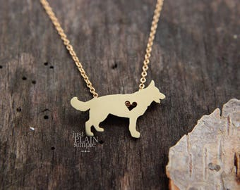 German Shepherd necklace, tiny BRASS, hand cut dog pendant with heart, with 14K gold filled chain