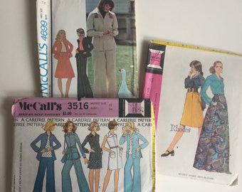 McCalls size 12 bundle of 3 Sewing Patterns. 3030, 3516, 4699. 1970's retro designs. Pantsuit, Maxi skirt, carefree