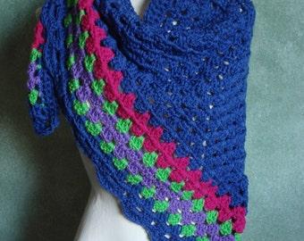 Royal Blue Granny Stitch Shawl Shoulder Wrap, Crocheted in Acrylic