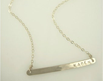 Thin Bar Necklace - Hammered Gold Bar Necklace - Engraved Jewelry