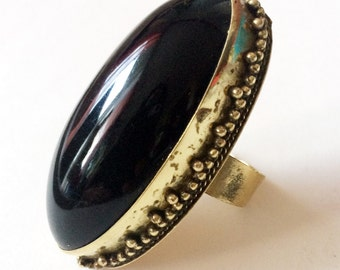 Bohemian Ring,Black Gold Ring,Statement jewelry,Bold Chunky Jewelry,Adjustable ring,Marquis black ring by Taneesi ZR125BL