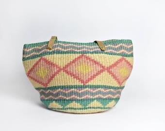 Pastel Southwestern-Style Geometric Sisal Market Tote with Cotton Lining