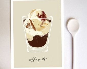 Affogato coffee Kitchen Art Print  - high quality fine art print