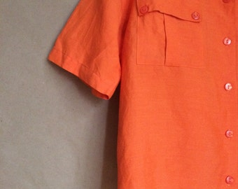 SALE! vintage 90's 1990's box cut blouse / oversized baggy fit / patch pocket blouse / rayon shirt / womens / vibrant orange