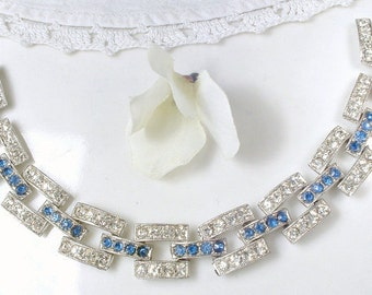 Vintage Art Deco Sapphire Blue Rhinestone Bridal Bracelet Wide Link 20s Silver Paste Crystal Flapper Jewelry Navy Wedding Something Old Blue