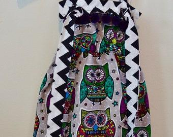 Handmade Owl Knotted Jumper Toddler Girl Pinafore Dress Chevron