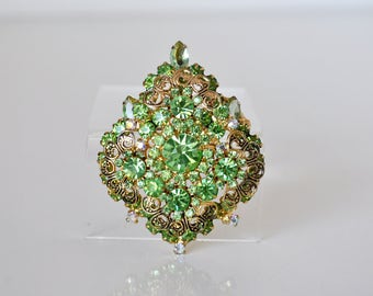 Vintage Green Rhinestone Brooch Pendant