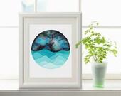 The Capricorn Constellation above the night sea watercolor print, Capricorn Art, Galaxy Painting, Zodiac Print, Capricorn Painting