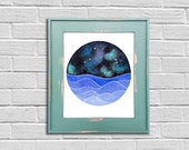 The Aries Constellation above an ocean of waves watercolor print, Aries Art, Aries Painting, Horoscope Painting, Stars Print, Zodiac Print