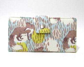 Handmade women wallet - Playful fox in blue - Cute foxes playing in the woods - Custom order - clutch purse - Gift ideas for her