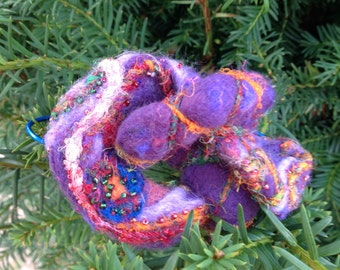 Sculptural large Felted wool knot brooch pin- purple orange green architectural lagenlook - gift for her