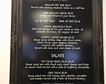 "RESTAURANT MENU BOARDS For Sale Baroque Framed 44""x32"" ExTRA LaRGE Rustic Black Modern Black board Home Office Baroque Chalkboard Gothic"
