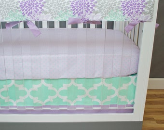Crib Bedding Girl, Baby Girl Mint Purple Lilac Nursery Bedding Crib Set, Mint Gray Purple Lilac Lavender Floral Blooms Moroccan Tile Hearts