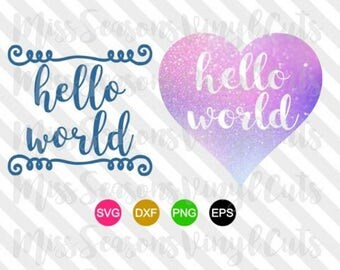 Hello World SVG | 2 Styles 1 File| Baby Boy| Baby Girl| Digital Cut File| SVG Png Dxf Eps| | Personal & Commercial Use