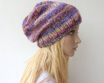 Colorful Knit Hat Purple beanie Womens winter hat