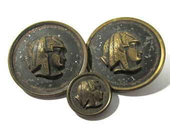 VINTAGE Egyptian Revival Buttons Pharaoh Profile Buttons Three (3) Small Large Coat Buttons Vintage Buttons Fashion Jewelry Supplies (F122)