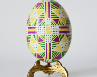Easter gift for mom from daughter yellow and pink pysanka egg
