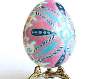 Pink and Blue Easter Egg Ukrainian pysanka hollow egg ornament baby baptism first holiday keepsake