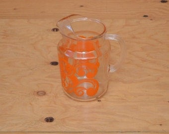 Vintage 50's Clear Glass Retro Orange Scrolled Water Pitcher