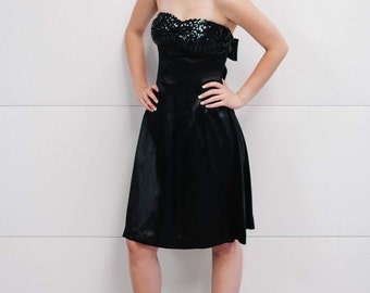 Vintage Little Black Satin Cocktail Strapless Dress with Sequin Bodice and Back Bow XS/S