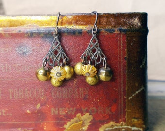 Rustic Assemblage Earrings - Beaded Chandelier Earrings - Vintage Triangle Connectors, Glass Beads, Vintage Gold Plastic, Fluted Shabby Disc