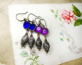 Pause 4 All Paws Benefit Sale - Rustic Assemblage Earrings | 1 Pair | Vintage Lucite & Gemstone Earrings | You Choose Purple or Blue