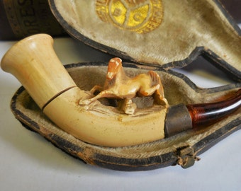 Antique Meershaum Pipe Carved Horse figural in case smoking Cigarette holder pipe