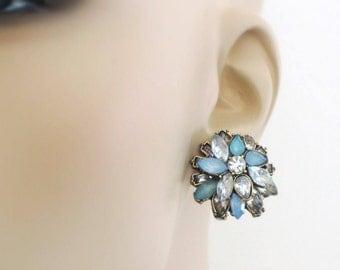 Vintage Inspired Earrings - Crystal Earrings - Gold Earrings - Blue Earrings -  Rhinestone Earrings - Stud Earrings - Wedding Earrings