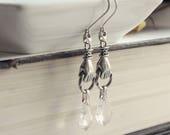 Aged Silver & Swarovski Earrings - Ghost - Paranormal - Divining - Medium - Unique - Bohemian - Summer - Graduation - June Wedding - Bridal