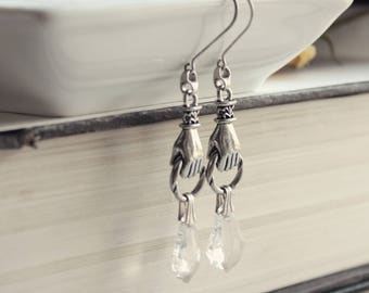 Aged Silver & Swarovski Earrings - Ghost - Paranormal - Divining - Medium - Unique - Bohemian - Summer - Graduation - June Wedding - Bridal