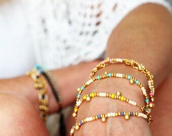 Dainty Gold Charm Bracelet Friendship Bracelet Delicate Bracelet Layering Bracelet Friendship Bracelet Beaded Bracelet Orb Jewelry