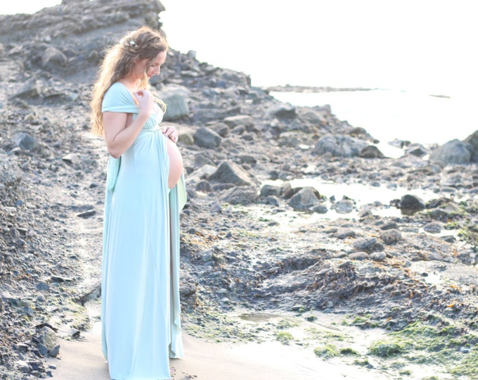 Maternity Mermaid Seafoam and Sage with Lace Tulip cut with Double Layer Straps wth Lace. Octopus Infinity Wrap Dress- Customize fabrics