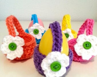 Crochet Mini Easter Baskets, Easter Egg Holders, Colorful Easter Set, Miniature Baskets, Mini Candy Baskets, Holiday Home Decor