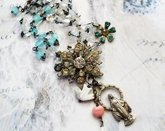 White Dove,Vintage Rhinestone Star,Dove,Glass Heart,Vintage Madonna,Crystals, Aqua Glass, Altered Assemblage Necklace,Hollywood Hill