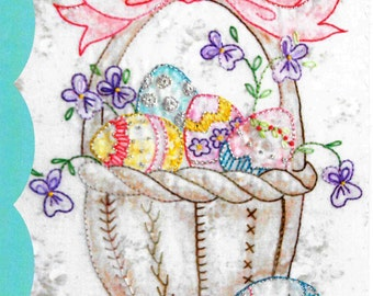 Embroidery Pattern, All My Eggs, Spring Decor, Easter Decor, Easter Basket, Easter Eggs, Cottage Decor, Crabapple Hill Studio, PATTERN ONLY