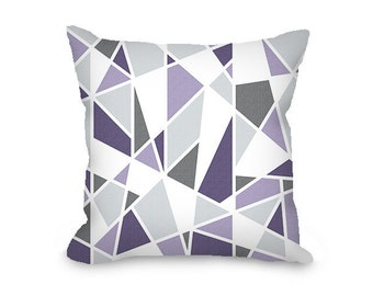 Geometric pillow cover, lavender, gray, purple, throw pillow cover, modern pillow, abstract pillow, decorative pillow